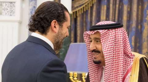 Saudi Arabia's King Salman (R) meets former Lebanese Prime Minister Saad Hariri (L) in Riyadh on 6 November 2017