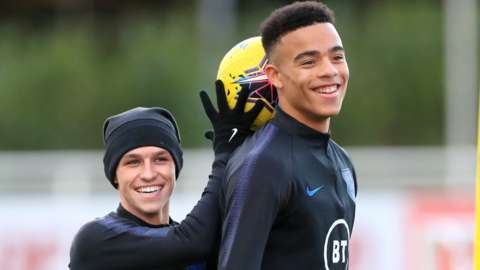 Phil Foden and Mason Greenwood at England training
