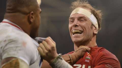 Kyle Sinckler and Alun Wyn Jones clash in Cardiff in 2019