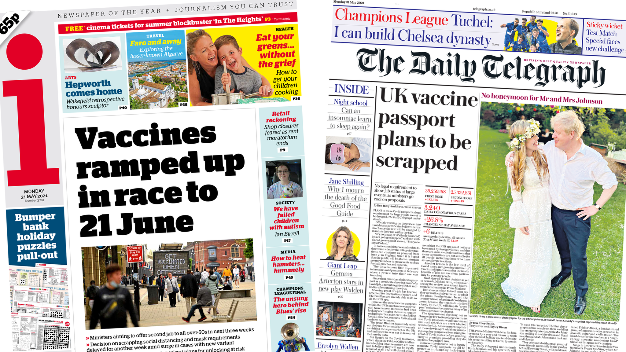 Front pages for 31 May 2021