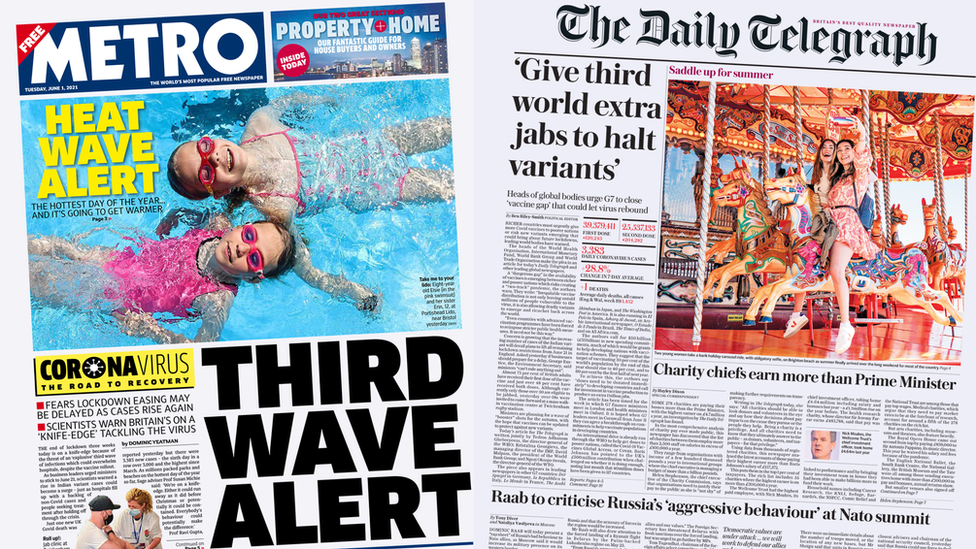 Metro and Daily Telegraph front pages