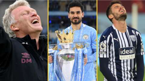 Split picture of West Ham manager David Moyes, Manchester City's Ilkay Gundogan with the Premier League trophy and a West Brom player