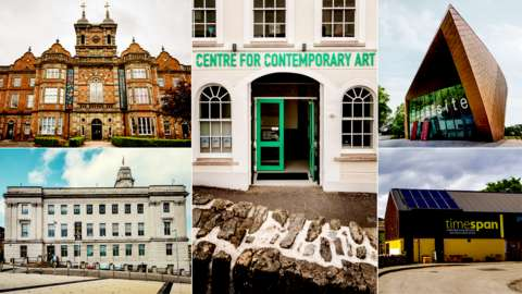 Split images showing the museums in the running for Museum of the Year