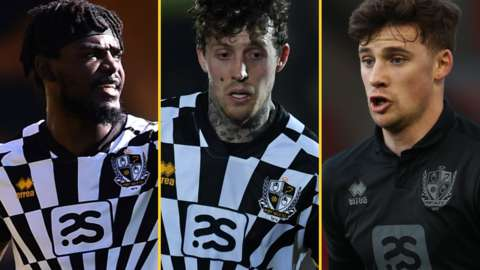 Port Vale's Theo Robinson, Danny Whitehead and Scott Burgess