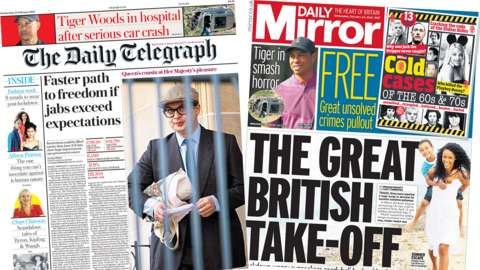 The Daily Telegraph and the Daily Mirror front pages