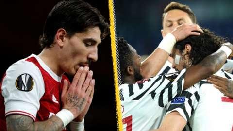 Arsenal's Hector Bellerin and Man Utd celebrate