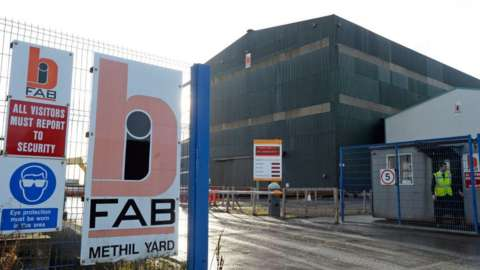 The main gate at the Methil yard of engineering company BiFab
