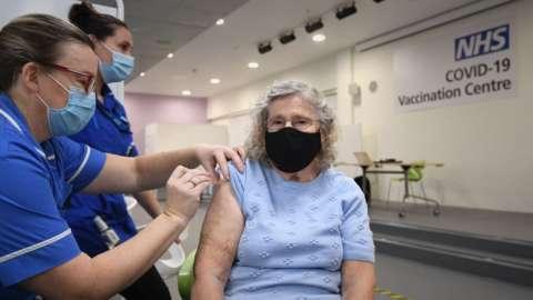 A vaccination centre in Stevenage