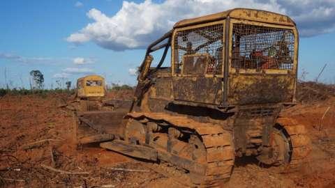 Bulldozers felling rainforest in Brazil's rainforest (July 2015)