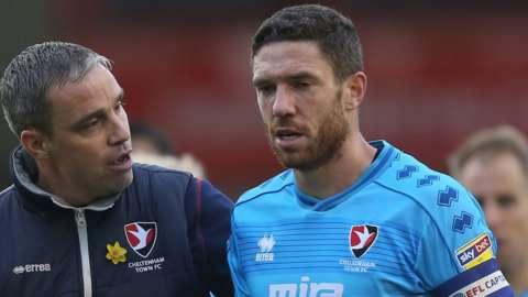 Cheltenham Town captain Ben Tozer with manager Michael Duff