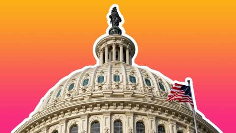 The US Capitol Building roof is seen cut out and set against the Tech Tent brand colours of deep magenta and orange