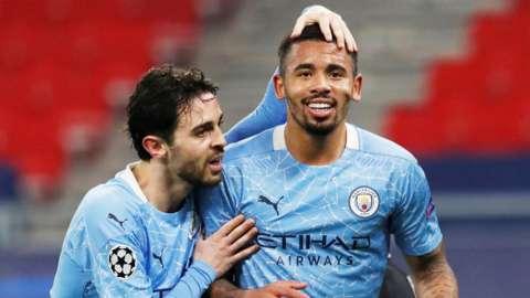 "Manchester City""s Gabriel Jesus celebrates scoring their second goal with Bernardo Silva"