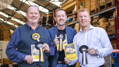 Simon Spurrell (C) with his partners in the Cheshire Cheese Company