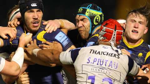 Siale Piutau was sent off in the late Sixways dust-up along with Andrew Kitchener (left), his brother Graham (centre) and Warriors club captain Ted Hill (right)