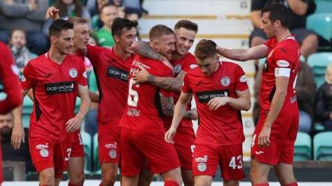 St Mirren's Eamonn Brophy celebrates his goal with teammates