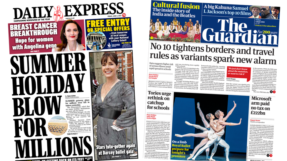 Daily Express and Guardian front page 04/06/21