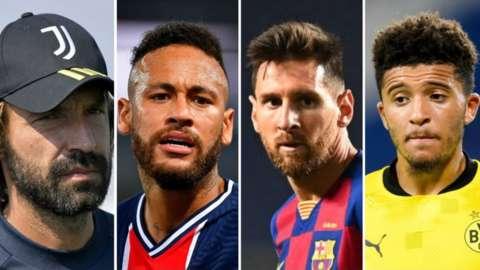 Juventus manager Andrea Pirlo, PSG forward Neymar, Barcelona forward Lionel Messi and Borussia Dortmund midfielder Jadon Sancho