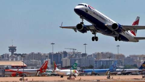 BA flight leaves Faro
