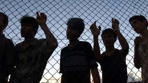 Asylum seekers on their first day in the compound at Nauru