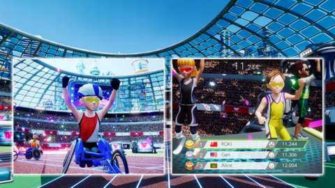 paralympic video game footage of wheelchair racer.