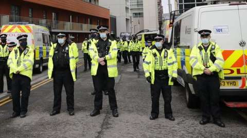 Police officers at the Lowry Hotel