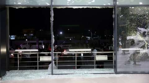Shattered glass at Irbil's airport, Iraq. Photo: 15 February 2021
