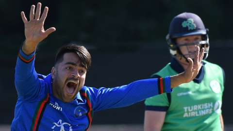 Afghanistan's star spinner Rashid Khan appeals for a dismissal against Kevin O'Brien during a game against Ireland in 2018