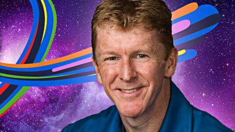 Tim Peak with space background and multi-coloured stripes