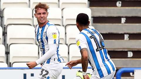 Huddersfield celebrate their second goal
