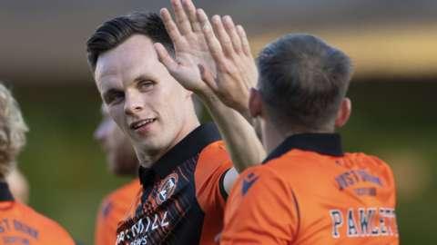 Dundee United's Lawrence Shankland celebrates
