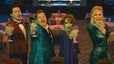 (L-R) Andrew Rannells as Trent Oliver, James Corden as Barry Glickman, Meryl Streep as Dee Dee Allen and Nicole Kidman as Angie Dickinson