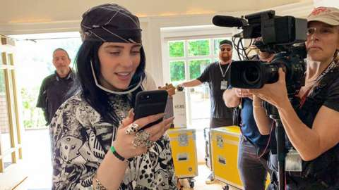 Billie Eilish being filmed for her documentary