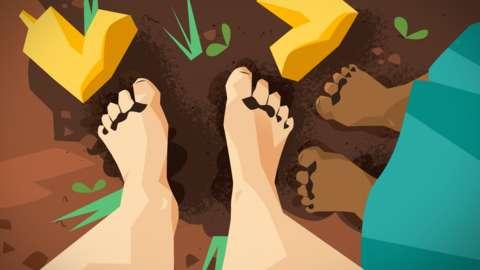 Feet in soil