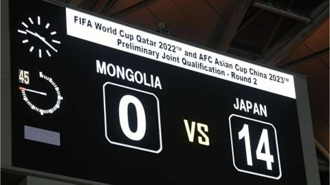 The scoreboard after Japan beat Mongolia 14-0 in a World Cup qualifier