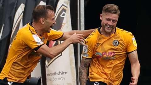 James Clarke of Newport County celebrates scoring a goal