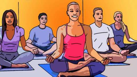 Illustration of a yoga class