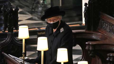 Queen Elizabeth II during the funeral of the Duke of Edinburgh
