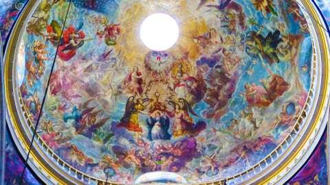 A fresco at Puebla Cathedral by Mexican painter Cristóbal de Villalpando