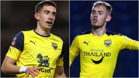 Oxford United midfielders Alex Gorrin and Mark Sykes
