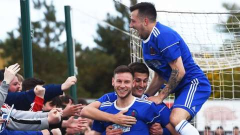 Mitch Megginson celebrates a Cove Rangers goal