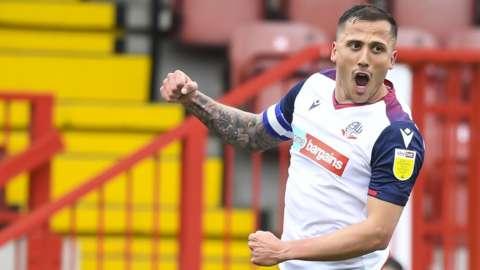 Antoni Sarcevic celebrates scoring for Bolton Wanderers against Crawley Town