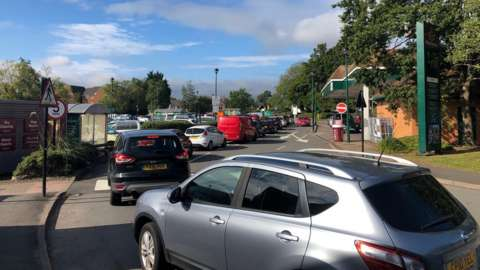 Queue at Morrisons in Llanishen, Cardiff on Friday morning