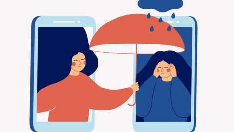 Graphic of one woman holding umbrella over another to signify student support