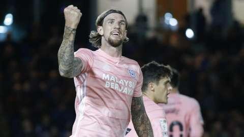 Aden Flint celebrates for Cardiff