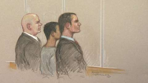 A court sketch of the sentencing hearing