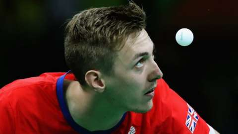 Liam Pitchford watches table tennis ball