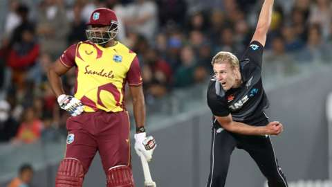 New Zealand's Kyle Jamieson in action against West Indies