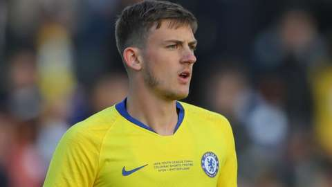Charlie Brown in action for Chelsea under-21s
