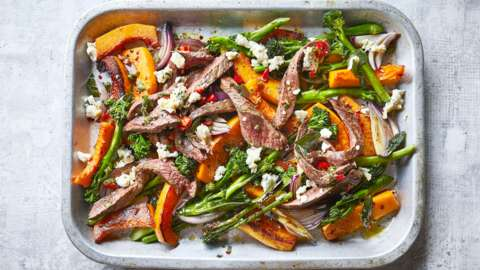 Flash-roasted steak with squash, gorgonzola and sage