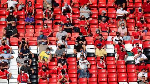 Fans sit in the stands socially distanced during a League One match between Charlton Athletic and Doncaster Rovers